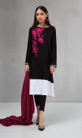 Shirt, trouser and shawl Linen shirt with knit border Embroidered motif on front Printed linen shawl Black tights