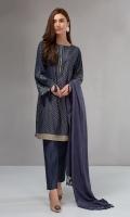 3 piece Shirt, trouser and shawl Denim khadar jacquard shirt Embroidered border Khaddar trouser Linen shawl