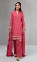 3 piece Shirt, shalwar and shawl Linen printed shirt Embroidered borders Cambric shalwar Linen shawl