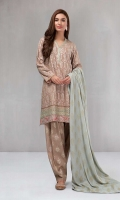 3 piece Shirt, trouser and shirt A line shirt with embroidered front and neckline Printed cambric shalwar Printed linen shawl