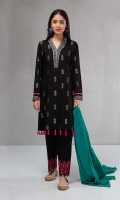 3 piece Black Shirt, shalwar and dupatta Jacquard shirt with embroidered neckline and borders Khaddar embroidered shalwar Self-jacquard dupatta