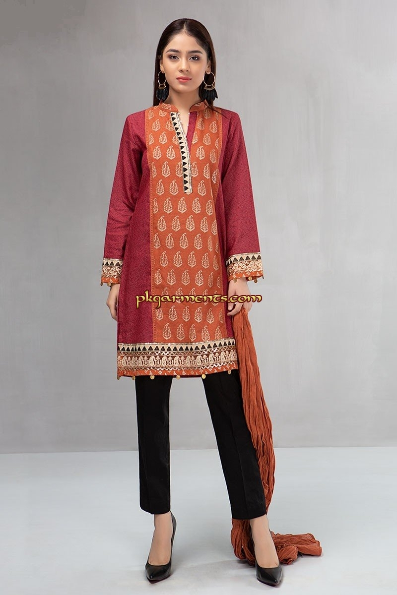 7dac29c960 3 piece Shirt, trouser and dupatta Karandi shirt with embroidered borders  Cambric trouser Linen dupatta