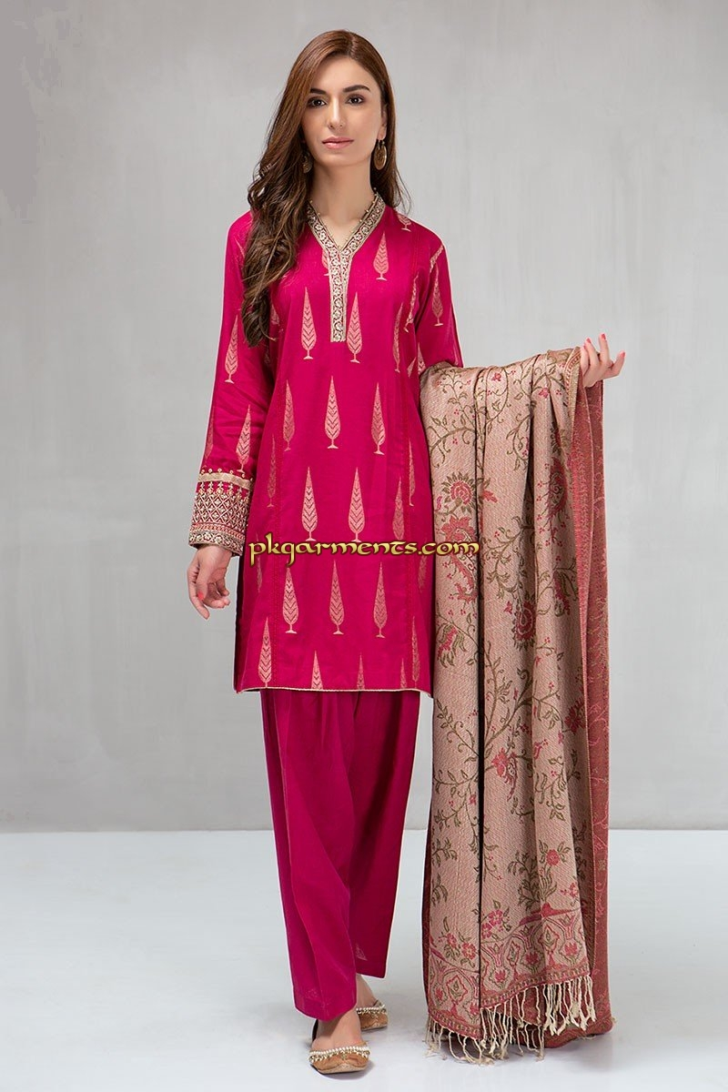 b66970a65f 3 piece Shirt, shalwar and shawl Jacquard shirt with embroidered borders  Cambric shalwar Woven shawl