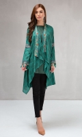 2 piece Cape and undershirt Printed khadar cape with embroidered borders Linen undershirt
