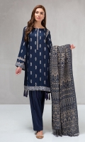 3 piece Shirt, shalwar and shawl Linen a line shirt with embroidered neckline and sleeves Linen shalwar Woven shawl