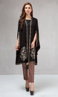 3 piece Cape, trouser and undershirt Linen cape with embroidered motifs Printed cambric trouser Linen undershirt
