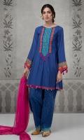 3 pcs Shirt shalwar and dupatta A line lawn shirt Embroidered neckline and borders Lawn printed shalwar Chiffon dupatta