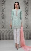 3 pcs Shirt trouser dupatta Lawn chikan kari embroidered shirt Embroidered cotton trouser Chiffon dupatta