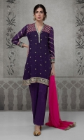 3 pcs A line lawn shirt with yoke Embroidered yoke sleeves and border Cotton trouser. Net dupatta.