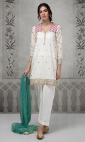 3 pcs A line lawn shirt with yoke Embroidered yoke sleeves and border Cotton trouser. Net dupatta