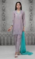 3 pcs Shirt trouser and dupatta Lawn schiffli embroidered shirt with yoke Embroidered neck pati Cotton trouser Chiffon dupatta