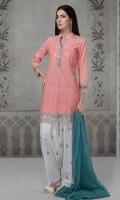 3 pcs Shirt shalwar and dupatta Self jaquard shirt Embroidered borders Embroidered shalwar Chiffon dupatta