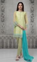 3 pcs Jaquard shirt with embroidered border Net sleeves Cotton trouser Chiffon dupatta