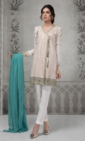 3 pcs Jaquard front angrakha Embroidered sleeves and border Cotton trouser Cotton dupatta
