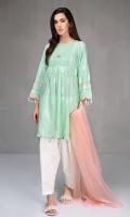 3 pcs Shirt shalwar and dupatta Yarn dyed a line shirt Cotton shalwar Net dupata