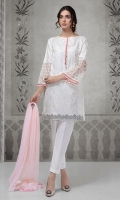 3 pcs Lawn panelled kurta Embroidered front and sleeves Lawn trouser Net dupatta