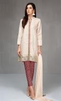 3 pcs Jaquard front open shirt Embroidered borders Cotton printed trouser Chiffon dupatta