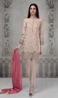 3 Pcs Jaquard shirt with embroidered borders Lawn trouser Chiffon dupata