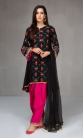 3 pcs A line lawn frock Embroidered panel and sleeves Lawn shalwar with embroidered border Net dupatta