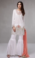 3 piece Shirt, Trouser and Dupatta Embroidered Cotton shirt. Cotton gharara Net dupatta,