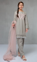 3 Piece Chikan shirt with embroidered neckline and sleeves Finished with pearls and kiran lace Cotton shalwar Net dupatta