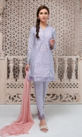 3 Piece Embroidered lawn shirt  Finished with tassels Cotton embroidered trouser Chiffon dupatta,