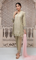 3 Piece Embroidered lawn shirt  Finished with tassels Cotton embroidered trouser Chiffon dupatta.