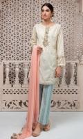 3 Piece Shirt, Trouser and Dupatta Embroidered self printed shirt Printed cotton trouser Chiffon dupatta,