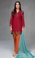 3 pcs Shirt trouser dupatta Lawn shirt with embroidered neck pati sleeves and borders Cotton trouser Net dupatta