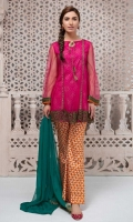 4 piece Shirt, Undershirt, Trouser and Dupatta Net a line frock with embroidered patti and border Printed cotton trouser Chiffon dupatta