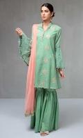 3 Piece Shirt, Gharara and Dupatta A-line lawn embroidered shirt  Flared schiffli sleeves  Cotton gharara Net dupatta,