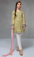 3 Piece Shirt, trouser and Dupatta Self cotton angrakha cut shirt with embroidered sleeves White cotton trouser Pink crushed dupatta,