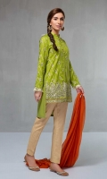 3 piece Shirt, Trouser and Dupatta Jacquard front open shirt with embroidered front and sleeves Cotton trouser Chiffon dupatta,