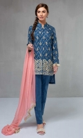 3 piece Shirt, Trouser and Dupatta Jacquard front open shirt with embroidered front and sleeves Cotton trouser Chiffon dupatta.