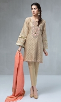 3 Piece Jacquard green shirt with embroidered neckline Tassels and button details Cotton trouser Jacquard dupatta