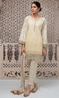 3 piece Shirt , Trouser and Dupata Lawn schifli embroidered front Embroidered borders Printed lawn back Cotton trouser Crushed cotton dupatta,
