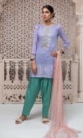3 Piece Lawn shirt with embroidered neckline and sleeves  Jaquard border on hem Cotton shalwar Chiffon dupatta