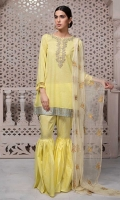 3 Piece Shirt, Gharara and Dupatta  Lawn shirt with embroidered neckline and sleeves Net embroidered dupatta Cotton gharara