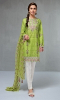 3 piece Shirt, Trouser and Dupatta  Lawn printed shirt with embroidered neck and border Cotton trouser Net embroidered dupatta