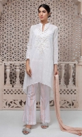 3 piece Shirt, Trouser and Dupatta Lawn self-printed a line shirt with embroidered neck Cotton printed trouser Self-lawn dupatta.