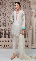 3 piece Shirt, Trouser and Dupatta Printed lawn shirt Jacquard sleeves Embroidered neck and border Cotton trouser Chiffon dupatta.