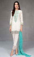 Shirt, shalwar and dupatta Lawn a line shirt Embroidered neckline and border Cotton trouser with embroidered Chiffon dupatta