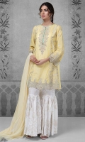 3 pcs Shirt gharara and dupatta Lawn paneled shirt with chikankari embroidered neckline Sleeves panels and border Printed gharara Net dupatta