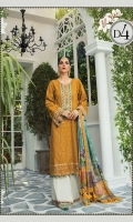 Embroidered lawn center panel Embroidered lawn side panel Embroidered lawn sleeves Lawn printed back Cambric dyed trouser Organza embroidered gherapatti Organza embroidered sleeve patti Organza embroidered trouser patti Tissue silk printed dupatta