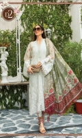 Net embroidered front bodice Net embroidered front Net embroidered sleeves Net dyed back Cambric dyed trouser Lawn printed inner (front&back) Net embroidered bodice patti Organza embroidered neckline Schiffli embroidered lace front Tissue silk printed dupatta