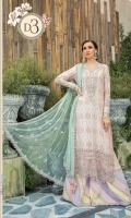 Lawn printed front & back Lawn printed sleeves 1 Embroidered lawn sleeves 2 Hand woven jacquard trouser Organza embroidered trouser patti Organza embroidered neck patti Organza embroidered gherapatti 1 Organza embroidered gherapatti 2 Net pearl printed dupatta Sateen printed dupatta pallu Organza embroiderd dupatta patti