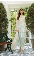 swiss lawn embroidered front swiss lawn printed back swiss lawn printed sleeves cambric dyed trouser organza embroidered sleeve patti organza for ghera front organza neck lace with pearls 1 organza schiffli embroidered neck lace 2 hand woven khadidupatta Swarovski buttons