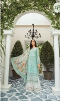Hand woven jacquard front Hand woven swiss lawn jacquard sleeves Lawn printed back Cambric printed trouser Organza embroidered neckline Organza embroidered ghera lace 1 Organza embroidered with pearls ghera lace 2 Organza embroidered with pearls sleeve patch Organza embroidered sleeve lace Tissue silk printed dupatta Swarovski buttons