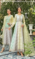 Cotton Satin embroidered koti (front &back) Lawn dyed yoke (front & back) Lawn embroidered sleeves Lawn embroidered panel 1 Lawn embroidered panel 2 Lawn embroidered panel 3 (left & right) Lawn printed panel 1 Lawn printed panel 2 Lawn printed panel 3 (left & right) Organza embroidered neckline Sateen embroidered koti neck (left & right) Sateen embroidered koti lace Organza embroidered sleeve patti 1 Organza embroidered sleeve patti 2 Organza embroidered gherapatti Hand woven organza jacquard dupatta Cambric printed trouser