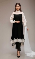 3 pieces Shirt, trouser and dupatta Chiffon frock with embroidered sleeves and hem Raw silk pants Chiffon dupatta.